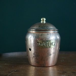 vtg 70s french copper garlic keeper container